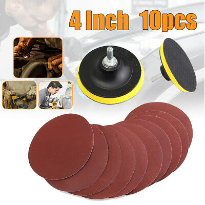 10Pcs 4'' Sanding Disc Sandpaper Hook Loop 1000 Grit +Backer Pad + Drill