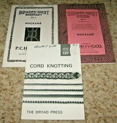 Lot Of 2~Macrame~Square-Knot Books #1 & #3~P C Herwig Co Vntage Gd/vgc