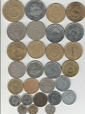 17 different world coins from COSTA RICA