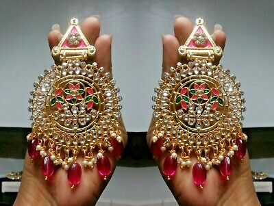 Gold Plated Indian Wedding Bollywood Set Long Earrings