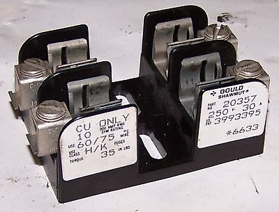 Gould Shawmut 30A Fuse Block, 250 V, Cat# 20357, 2 Pole, Used, WARRANTY