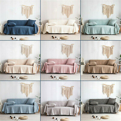 1 2 3 4 Seater Solid Cotton Blend Chair or Sofa Protector Slipcover Couch Cover