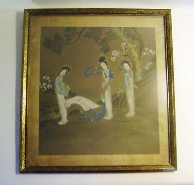 Antique Original Chinese Painting of 3 Ladies in a Garden. In Gilt Frame