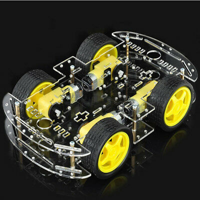 4WD Motor Smart Robot Car Chassis Kits Set W/ Speed Encoder DIY For Arduino  !