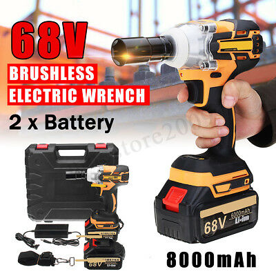 68V 8000mAh Brushless Cordless Impact Wrench Drilling 2 Li-Ion Battery Charger