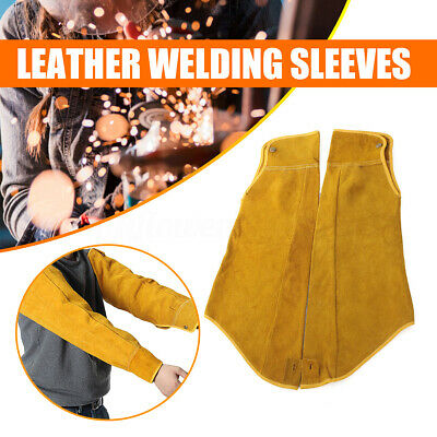 Long Split Cowhide Leather Welding Sleeve Mig Tig Arc Protective Heat Safety