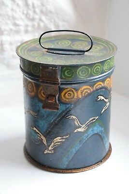 Vintage Hand Painted Folk Art Tin,Hand Made,Toleware