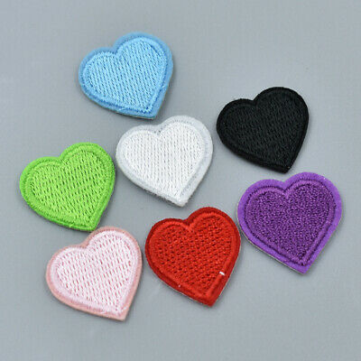 10pcs Embroidery Sew Iron On Patch Heart Love Badges For Bag Jeans DIY Appliques