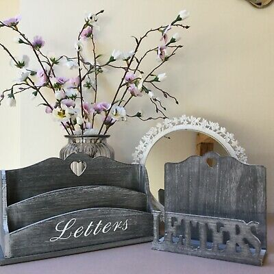 French Grey Wood Letter Rack Post Tray Tidy Vintage Chic Desk Country Shabby
