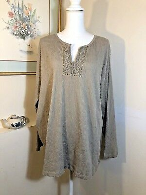 b1f16818f20da White Stag WOMENS Tan w Lace Top Plus Size 22W 24W Blouse Long Sleeve