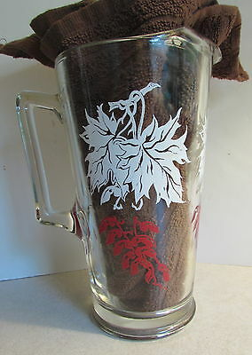 VINTAGE 50s SWANKY SWIG PITCHER RED WHITE LEAF BERRY ICE LIP JEANNETTE GLASS