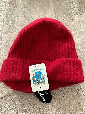 7871f6935fc Portolano Ribbed Cuffed 100% Cashmere Beanie Hat Women s NWT  85 Red  Cranberry