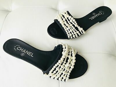 3b8e015d171 CHANEL 17A Black Mules REV Satin Embellished Pearls Sandals Flats Shoes  850
