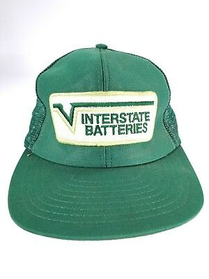 f224dd7c080 Interstate Batteries Sewn Patch Snapback Cap Vintage Mesh Mens Trucker Hat  Green