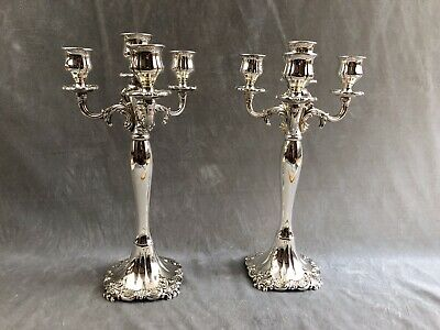 Wallace Baroque Large 4 Light Silver Plate Candelabra #712 Candle Holders
