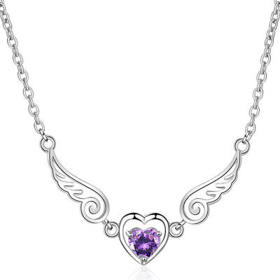 Princess 925 Sterling Silver Sweet Crystal Heart Angel Wing Pendant Necklace