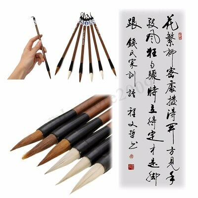 6PCs Wool Hair Chinese Traditional Calligraphy Brown White Writing Brush Pen  !
