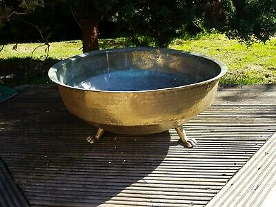 """Large Brass Planter / Jardinere with Feet & Claw Legs,  28"""" Diameter approx"""
