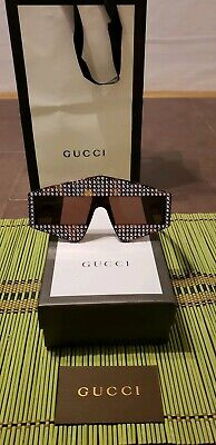 7fca2303d5 Gucci Rectangular-frame acetate sunglasses with crystals 99mm Embellished  Shield