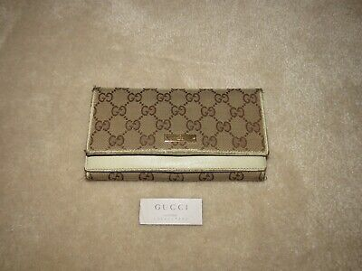 0553ae83eaf109 Gucci Gg Monogram Fabric Leather Long Continental Wallet 131888 Well Used  Read!