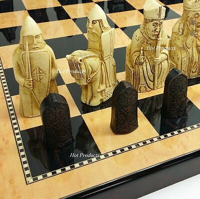 """Large Isle of Lewis Chess Set 3 1/2"""" King with 18"""" Walnut Color Board NO STORAGE"""