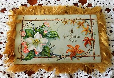 Victorian Silk Fringed Birthday Card Double Sided Greetings