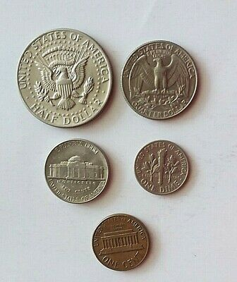 USA American coins, Half Dollar, Quarter Dollar, One Dime, Five cent & One cent