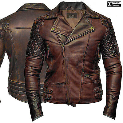 Mens Brown Biker Cafe Racer Classic Motorcycle Distressed Leather Jacket