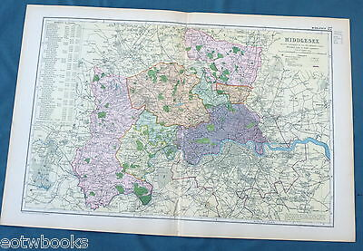 MIDDLESEX  -  Original Large Antique County Map -  BACON , 1897.