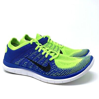 competitive price f3361 e4804 Nike Free 4.0 Flyknit Homme Sz 12 Vert Citron   Bleu Course Nature Chaussure  -