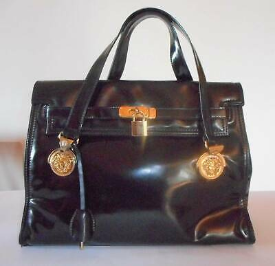 b369b86f7f Gianni Versace Couture Rare Black Patent Leather Medusa Head Kelly Handbag -1996