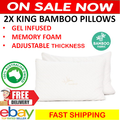 2x Large Bamboo Memory Foam Pillows Adjustable Thickness Cushion Gel Infused NEW