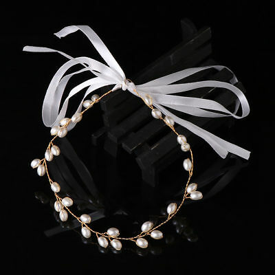 Wedding Bridal hair band Accessories Faux Pearl Clip Tiara Headband Gold Garland