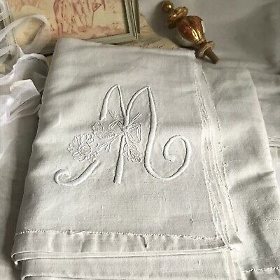 Antique Cotton & Linen Sheet, White Embroidered Monogram M /French Bedding Decor
