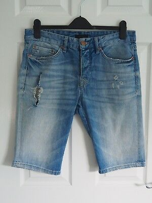 "Fantastic RIVER ISLAND Men's Ripped / Distressed Denim Shorts size 30"" waist"