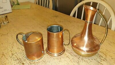 3 X Vintage Copper Jug / Pitcher , Tankard , Spoutless Watering Can