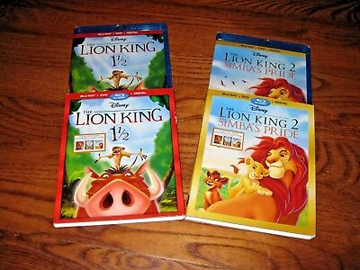 The Lion King 1 1/2 & The Lion King 2 Simba's Pride (Blu-Ray/DVD/Digital) New