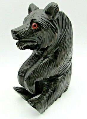 """Antique Carved Wooden Bear, with Glass Eyes. 17 cm (6.3/4"""") Tall."""