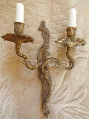 Original Vintage French Rococo Design Heavy Brass Wall Light / Sconce