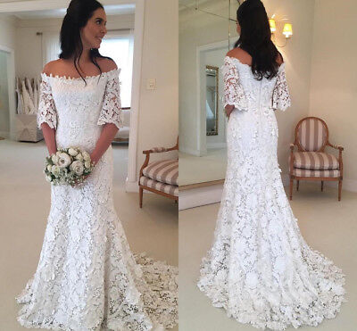e221c045ac7 Vintage Bohemian A Line Beach Wedding Dresses Full Lace Half Sleeves 2019