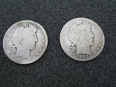 1906 & 1907 Barber Half Dollar Lot ( 2 ) Circulated