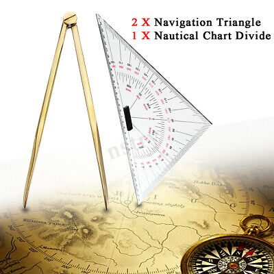 2x Triangular Protractor 300mm  + Nautical Chart Divider For Navigation Tools