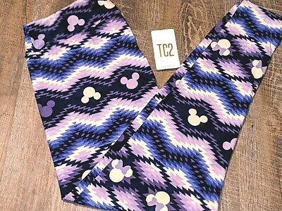ec4c08b19b9 Lularoe Disney Womens TC2 Leggings Purple Ombre Aztec Mickey Mouse Plus Size  18+