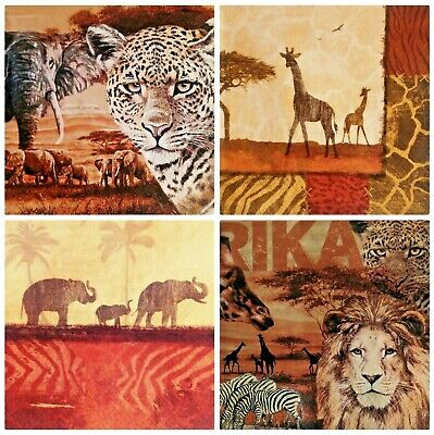 4 x SERVILLETAS DE PAPEL DECOUPAGE, Napkins for decoupage, mix Africa, Safari