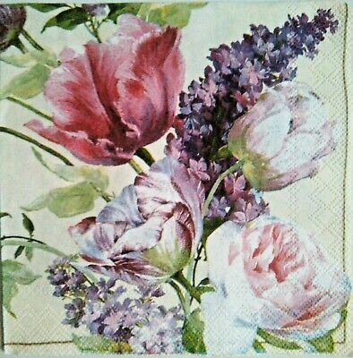 4 Paper Napkins for decoupage flowers Vintage.Servilletas de papel decoupage