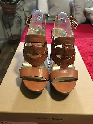e6ce51eb541f Marc Fisher Stanley Leather Platforms Heels Size 7M Sandals Shoes Brown  Strappy