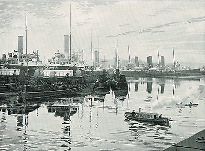 Ships In Chatham Dockyard Kent 1899 Antique Nautical Print Old Picture TQET#276