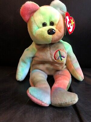 Ty Beanie Babies Rare Retired Peace Bear Original Stamped Suface Wash Rare 1e3657111dc