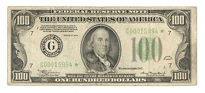 """1934 $100 *Star Note* Federal Reserve Note FRN Chicago, IL """"G"""" Fr#2152-G*"""