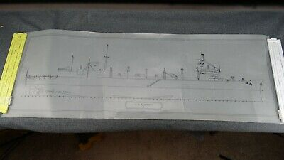 "CADD Ink Drawing Profile of USS Detroit AOE-4 13"" x 37"" - Probably 1980's"